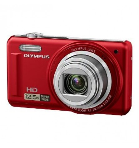 """Olympus 14MP Digital Camera with 12.5x Optical Zoom and 3"""" LCD (Red) - VR-320RD"""